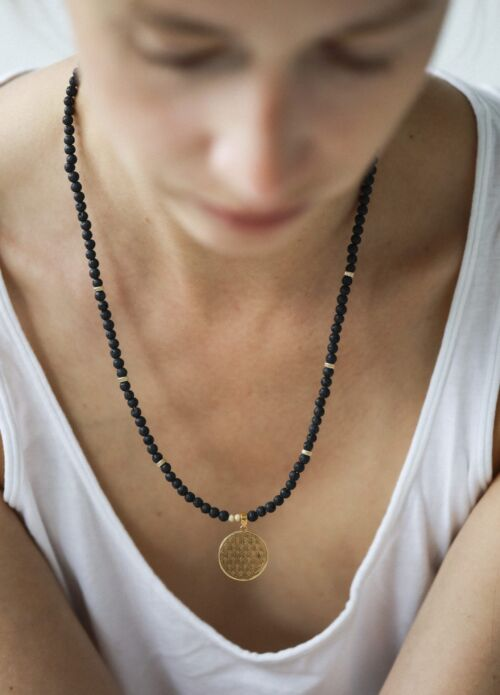 New Vintage by Kriss Flower Of Life Lava Stone Necklace