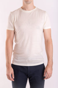 Men_s slim fit o-neck T-shirt in lightweight (160gsm) ivory merino wool by Feelwear_ front view close up