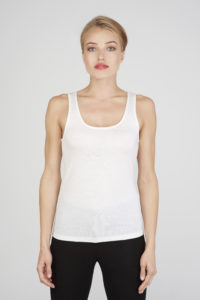 Women's slim fit o-neck tank top in ultrafine ivory merino (200 gsm) by Feelwear_front view close up